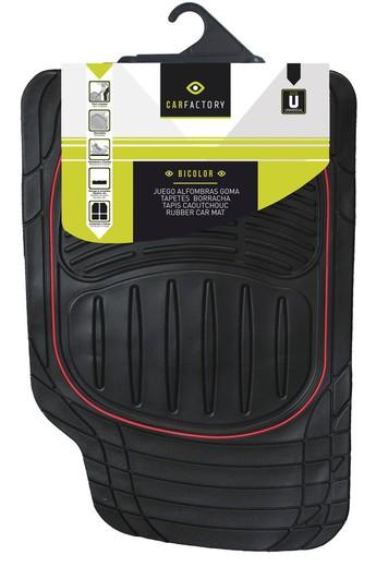 Carfactory Alfombra Goma Universal Recortable modelo BICOLOR color negro//rojo 4 piezas.