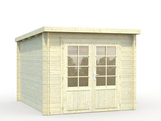 Abri de jardin en bois avec auvent - 28 mm Ella - Toit monopente