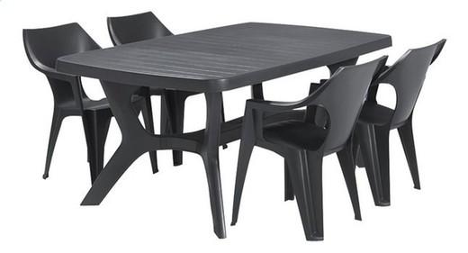 Table de Jardin Plastique - 177 x 100 cm - Gris Graphite