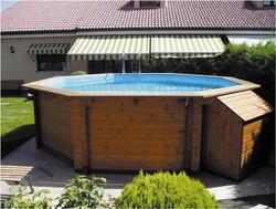 c23779e1 Piscina hexagonal de madera maciza K2O 440 x 130 cm con depuradora de Arena  de 5.678