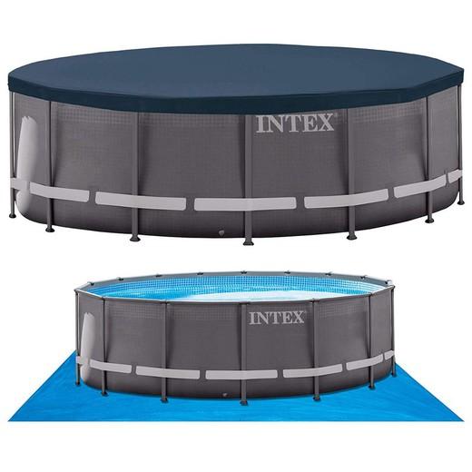 Piscine Tubulaire Ronde Intex Ultra Frame 5 49 X Hauteur 1 32 M Filtre A Sable Et Electrolyseur De Sel