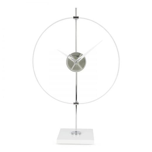 Orologio da tavolo Unum in metacrilato argento, 40x17x63 cm
