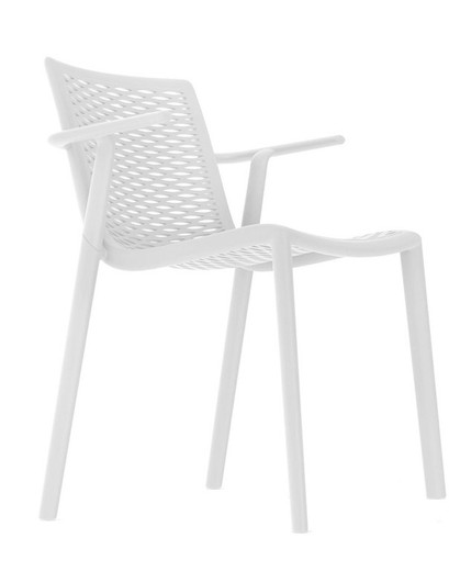 Set 2 chaise avec bras avec fibre injectée et pp Net kat 56 x 55,6 x 79 cm Resol