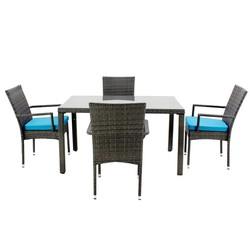 Set de mesa de comedor con 4 sillones y 4 cojines Hevea Mali-130/4+ ...