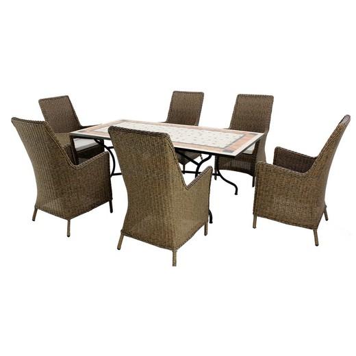 Conjunto de jardín Roland / Malta compuesto de: mesa de comedor + 6  sillones + 6 cojines -200/6+6c