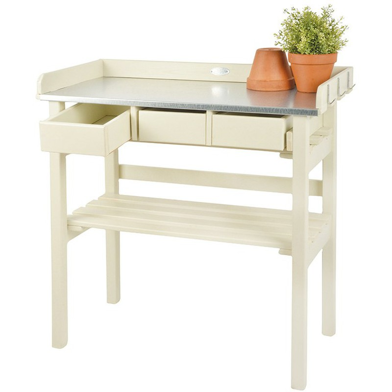 Tavolo Da Giardino Legno Bianco.Tavolo Da Lavoro Giardino Zinco E Legno Bianco Esschert Design Brycus