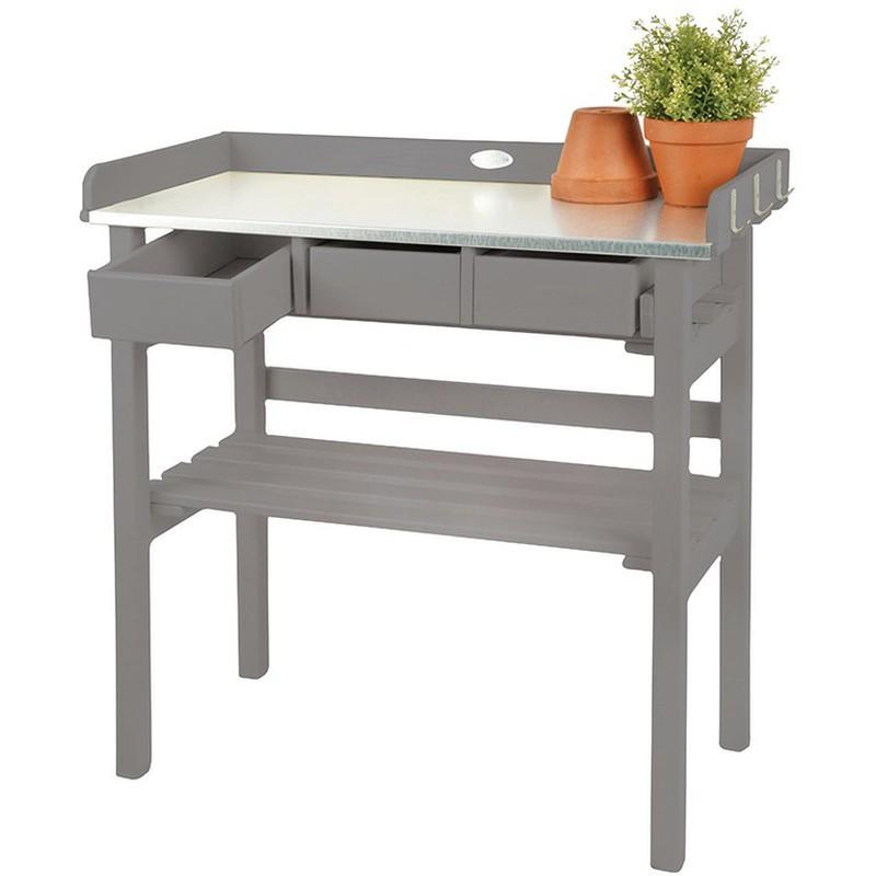 Table de Rempotage en Bois Peint et Zinc - Coloris Gris — BRYCUS