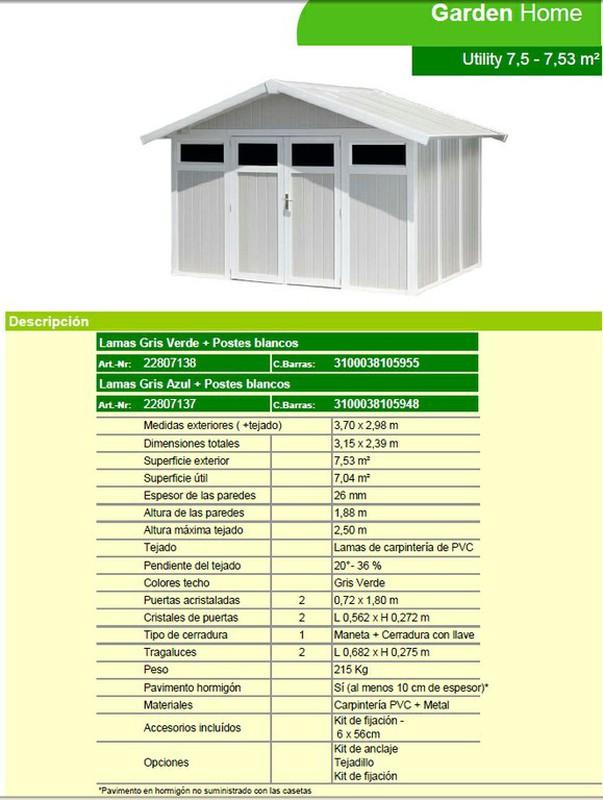 Caseta de resina garden grosfillex home utility 370x298 cm for Caseta de jardin grosfillex