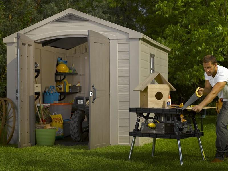grand abri de jardin r sine keter factor 811 8 50 m2. Black Bedroom Furniture Sets. Home Design Ideas