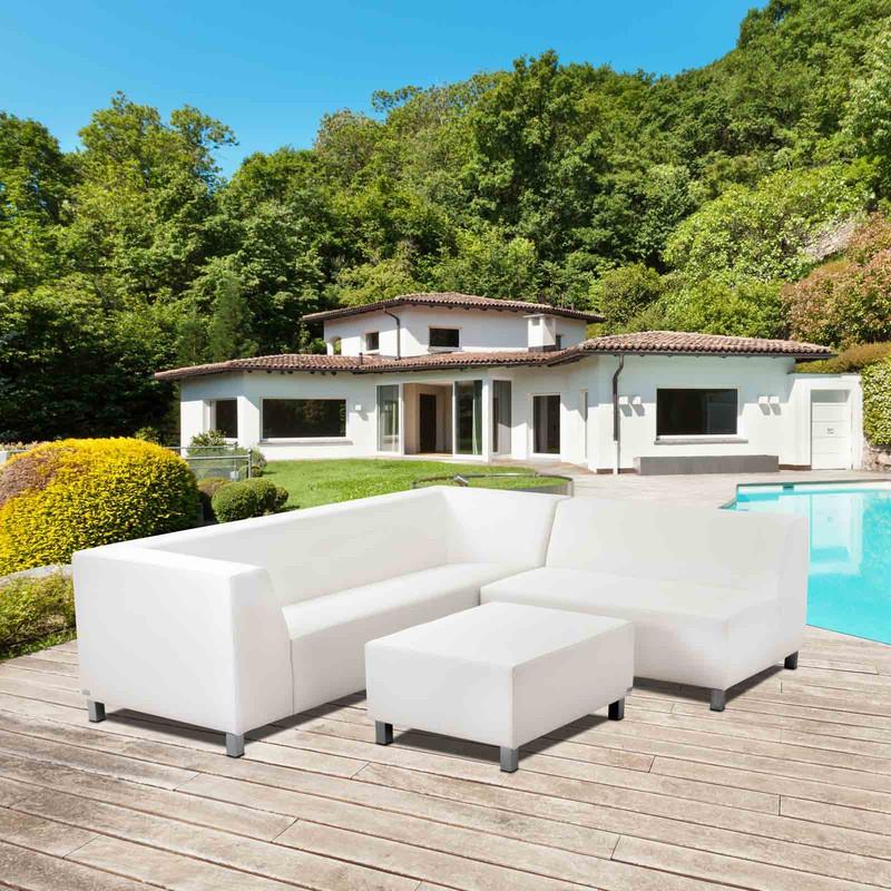 34209822 Conjunto de jardín exterior sofá blanco Marbella 250 x 220 x 73 — Brycus