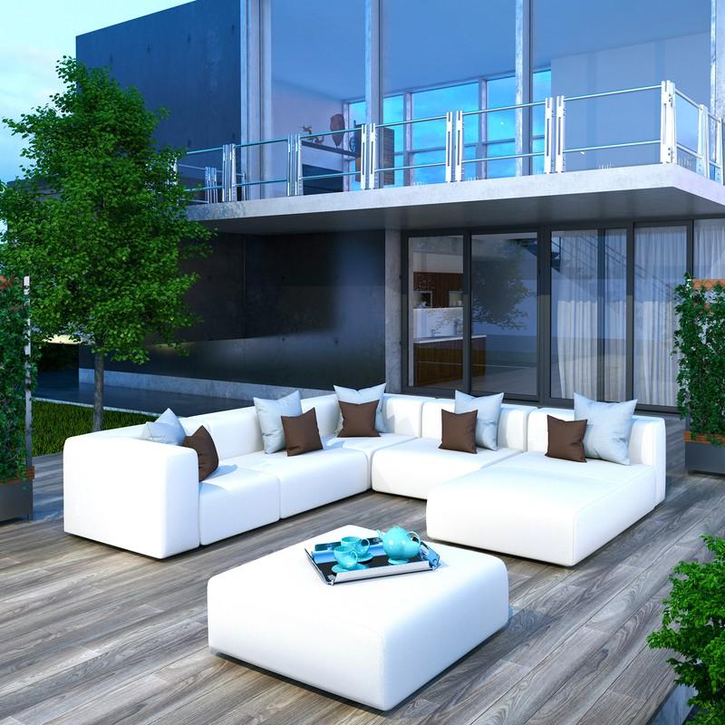 ce8f336c Conjunto de jardín Exterior Blanco Silence compuesto por: 2 esquineros + 2  módulos centrales +