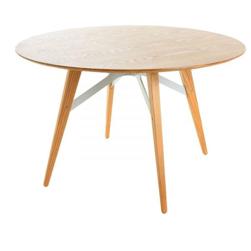 Round Dining Table Beech Wood 120 X 74 5 Cm Jomez Series Brycus