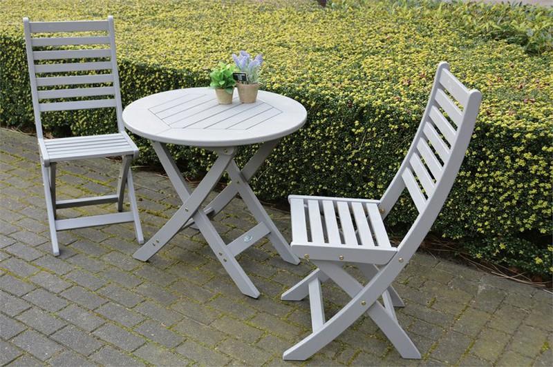Table de jardin ronde en bois peint - Gris