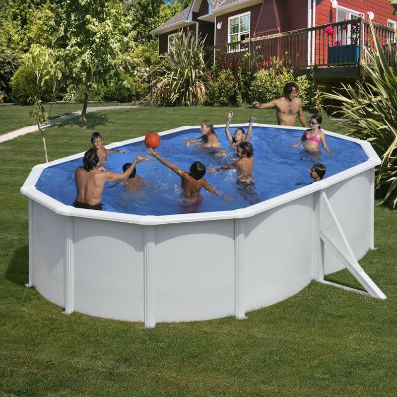 Piscina gre azores ovalada de acero blanca depuradora de for Depuradora para piscina hinchable