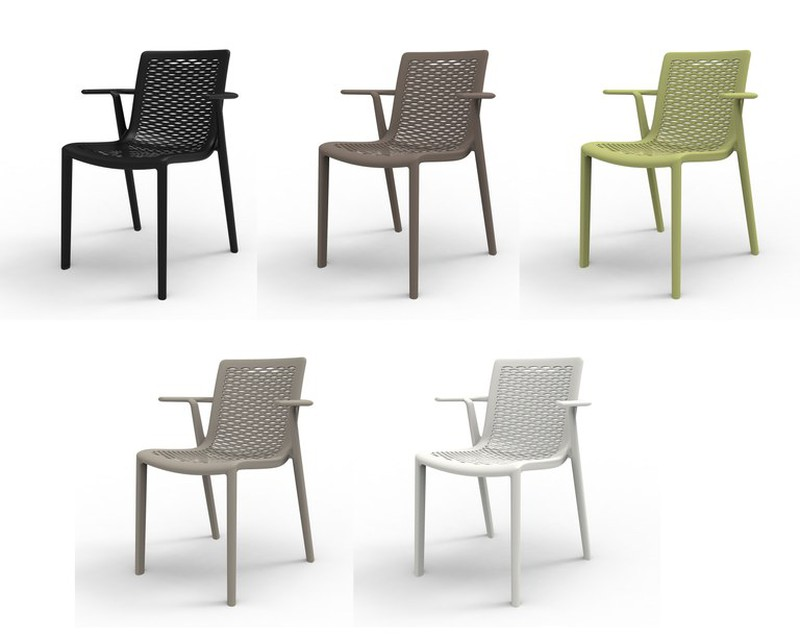 Set 2 chaise avec bras avec fibre injectée et pp Net kat 56