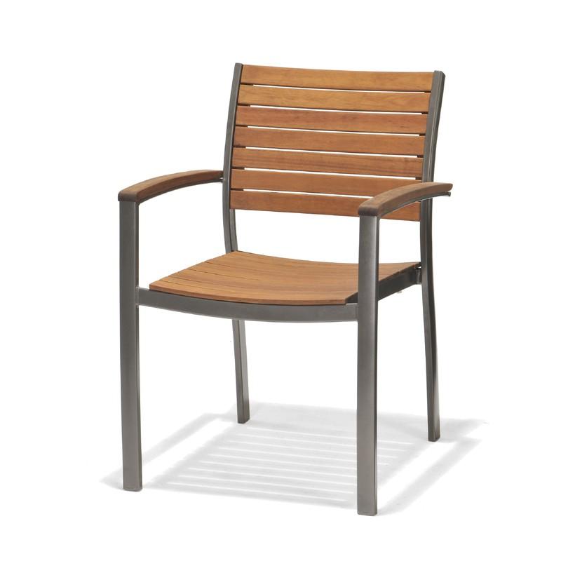 Sedie In Alluminio E Legno.Sedia Con Braccioli In Legno Di Eucalipto E Alluminio Chillvert 60