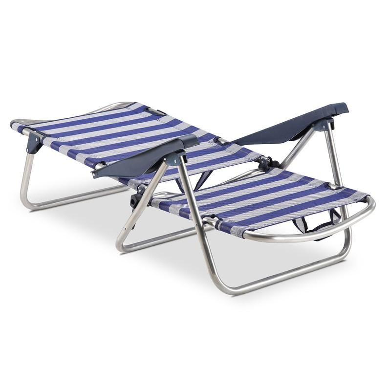 c1944f4a0 Silla Playa cama 4 Posiciones Solenny Azul y Blanca con Asas y con Pata  Plegable en